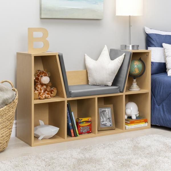 Photo of 6-Cubbie Kids Bookcase Furniture Accent w/ Cushioned Reading Nook