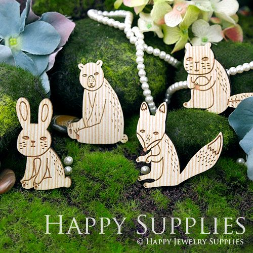 4Pcs Large Handmade Lovely Animal Charms / Pendants (LC029)