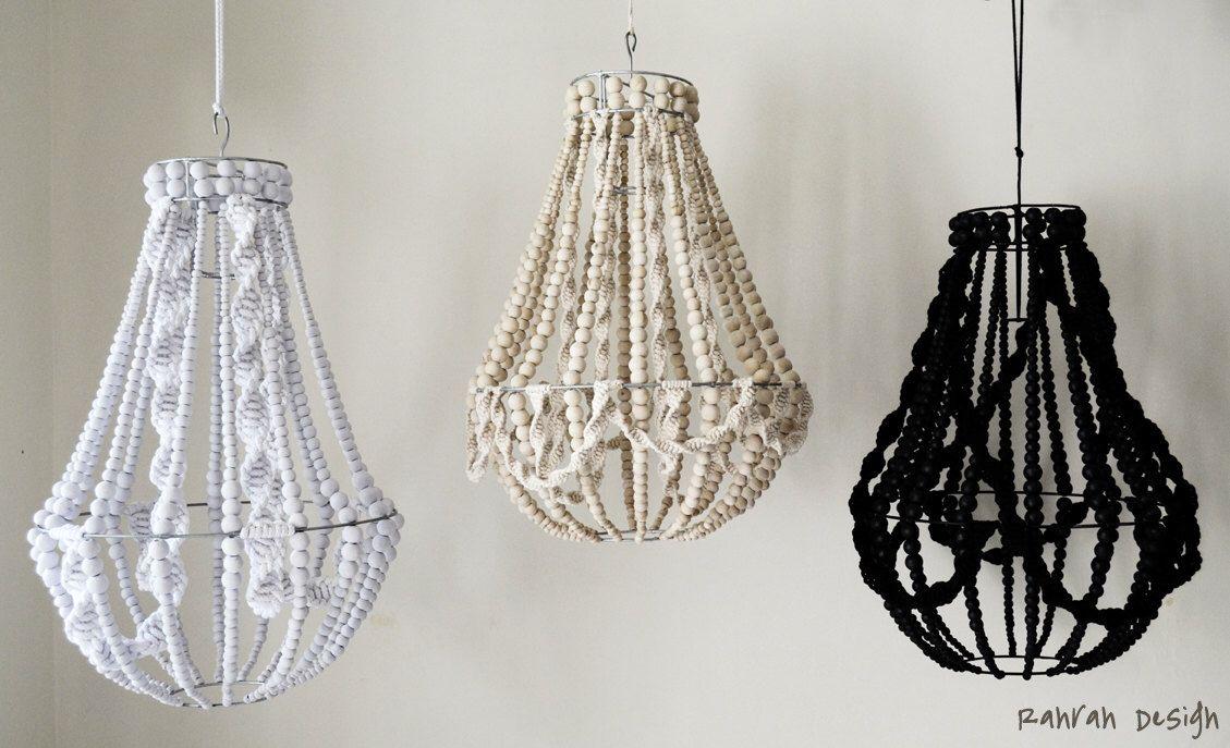 Lustre De La Lampe En Macram 233 233 Clairage En Bois Perles