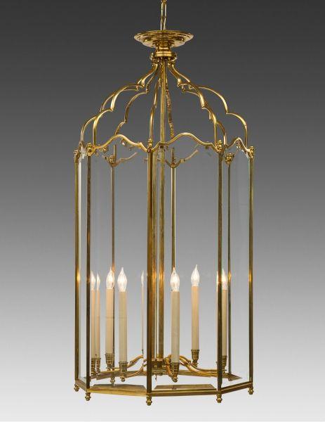 Style#LL-66-Cast brass and beveled glass English style eight light lantern. Shown in standard darkened golden brass finish.