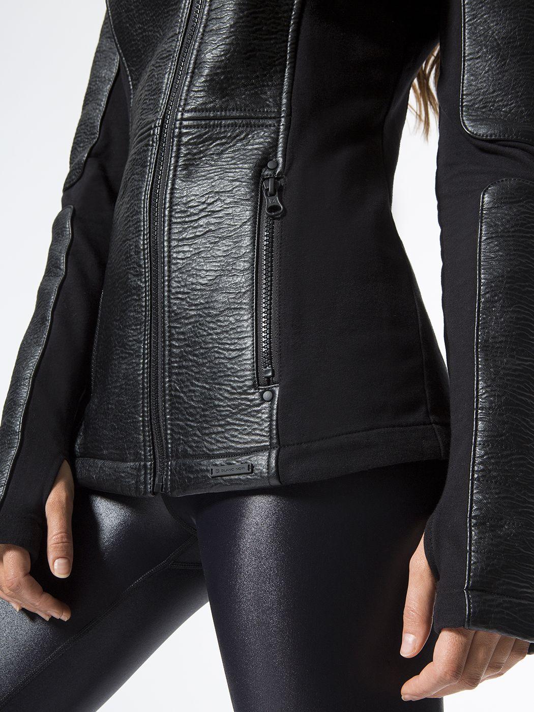 BLANC NOIR Asymmetric Hooded Moto Black JACKETS Fashion