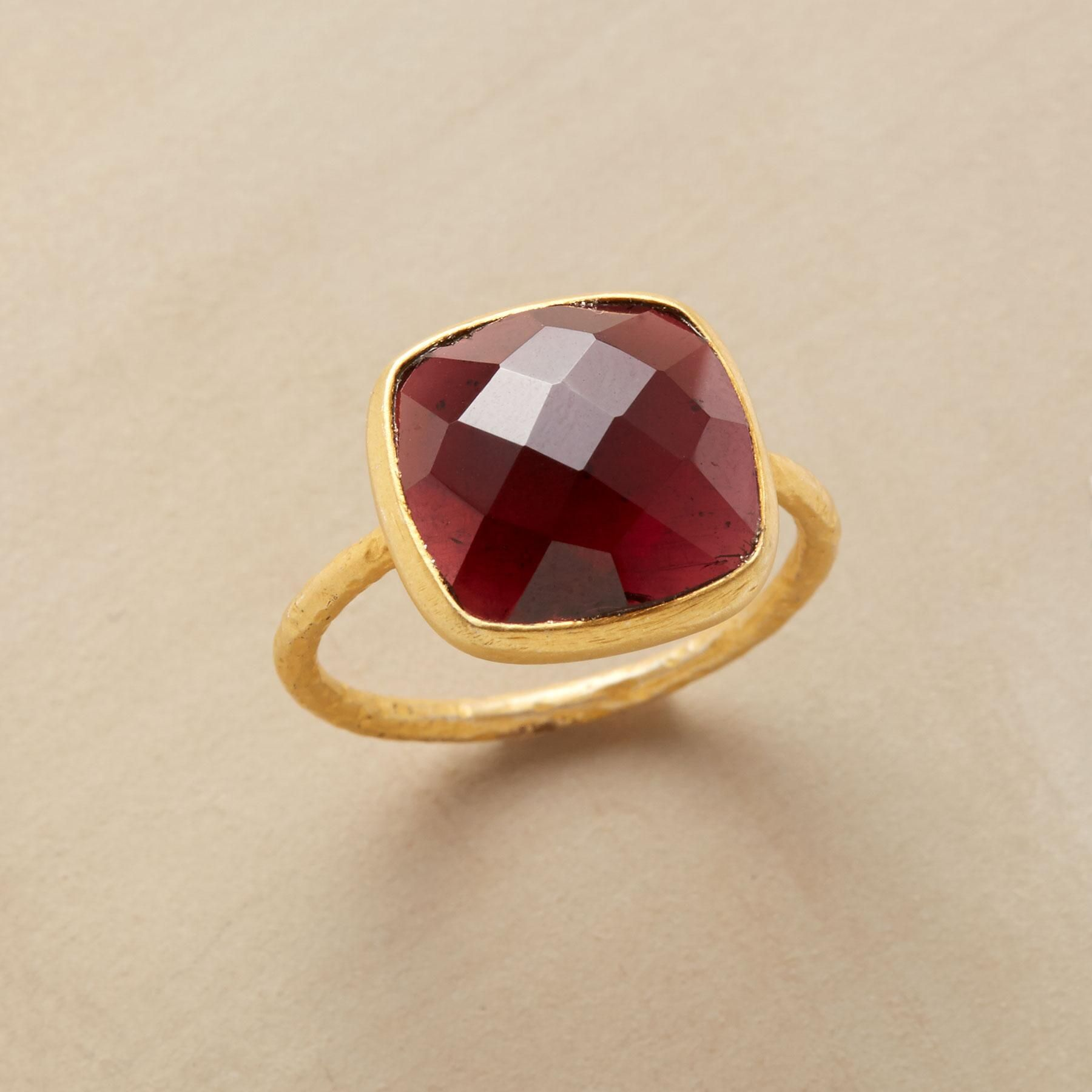 GARNET CRISSCROSS RING -- Harlequin facets crisscross garnet, the square stone set aglow by 22kt matte vermeil. Handmade with a slender, textured band; whole sizes 5 to 10. This ring is running a bit large, half sizes should order down to the next full size.