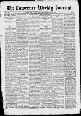 Douglas County Lawrence Kansas 1886 1889 The Lawrence Weekly Journal Google News Archive Search Google News Newspapers Douglas County