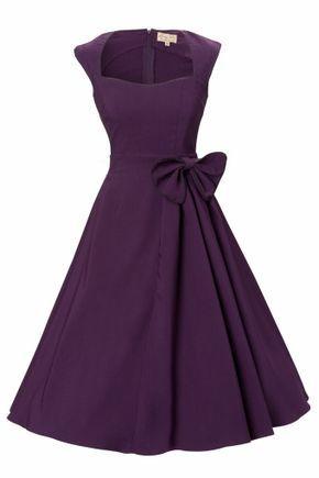 1950s Grace Purple Bow vintage style swing party rockabilly evening dress