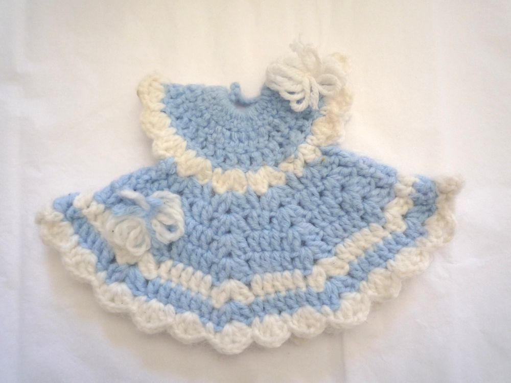 Vintage Crochet Potholder Doll Dress Pattern Blue With White Trim