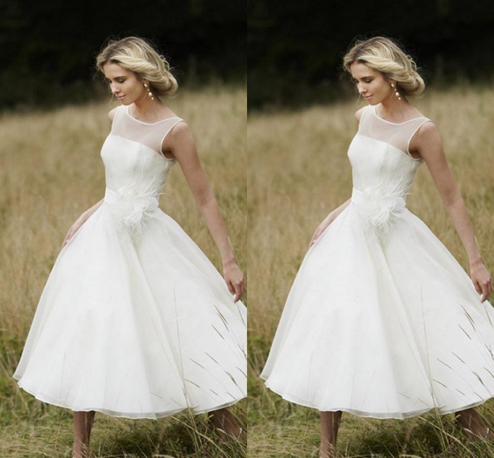 Vintage 1950\'s Style Short Wedding Dresses A Line Sheer Neck Little ...