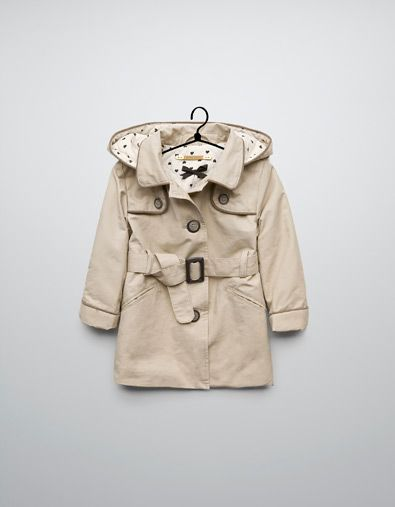 trench coat with piping and hood - Coats - Baby girl (3-36 ...