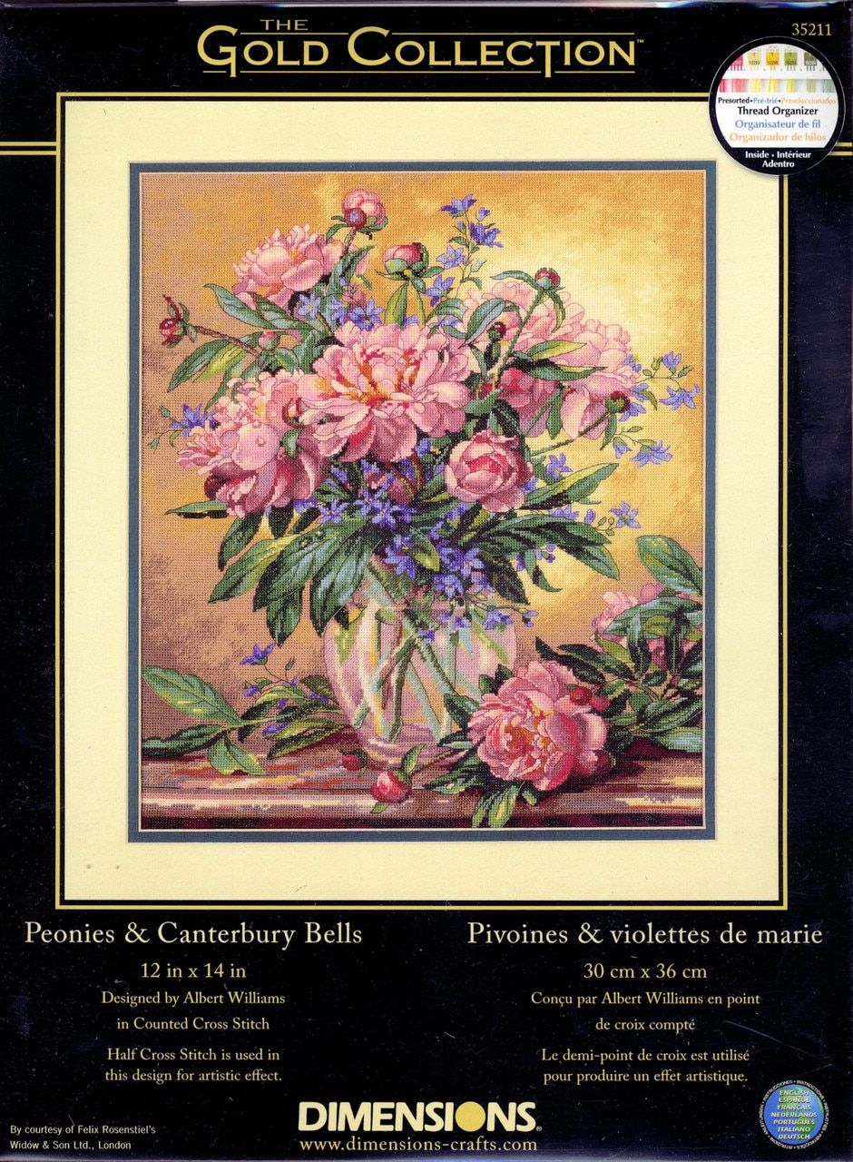 Dimensions Peonies And Canterbury Bells Peonies Cross Stitch Canterbury