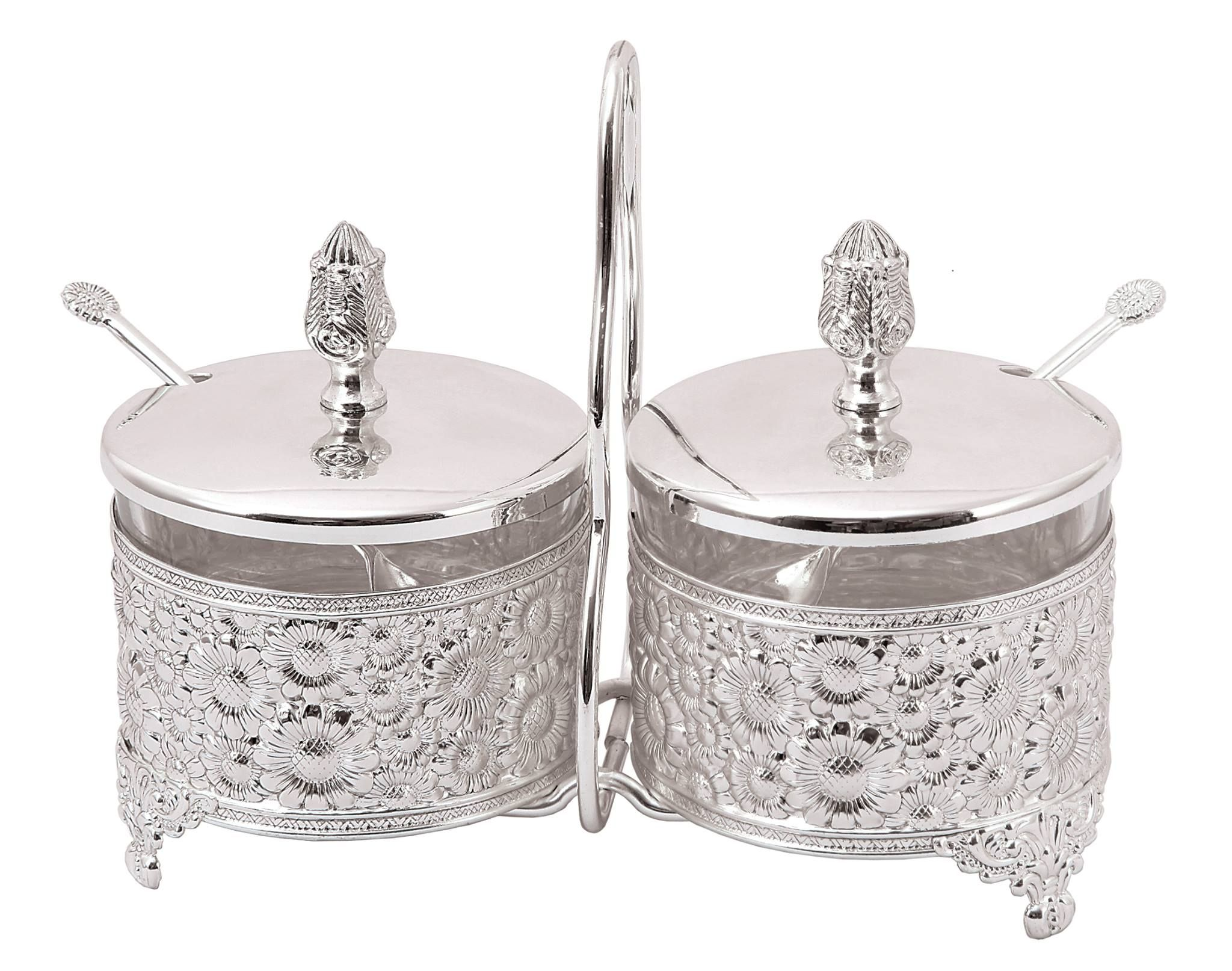 Classy Italian Silver Plated 2 Bowl Pickle Set - collections at Ekaani Mumbai. #ItalianSilver #SilverWare #Gifts #Ekaani #Mumbai