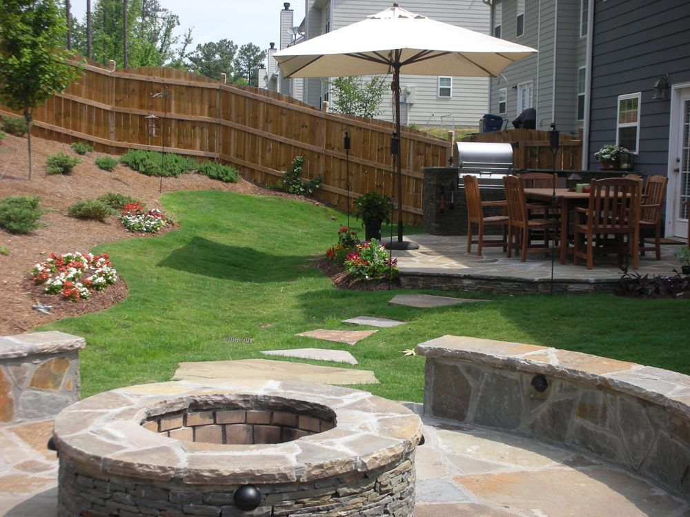 Steps From Deck To Patio With Fire Pit But Add A Pergola On The Deck Cheap Outdoor Fire Pit Fire Pit Backyard Diy Gazebo With Fire Pit