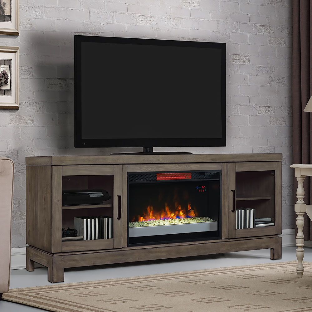 Infrared Electric Fireplace Tv Stand W Glass In Spanish Gray  # Meuble Tele Foyer Electrique
