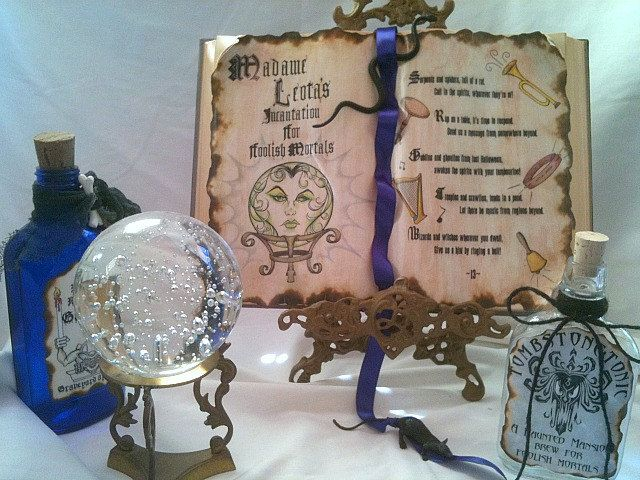 Haunted house Mansion WALLPAPER Madame Seance Incantation altered Spell book prop Alchemy