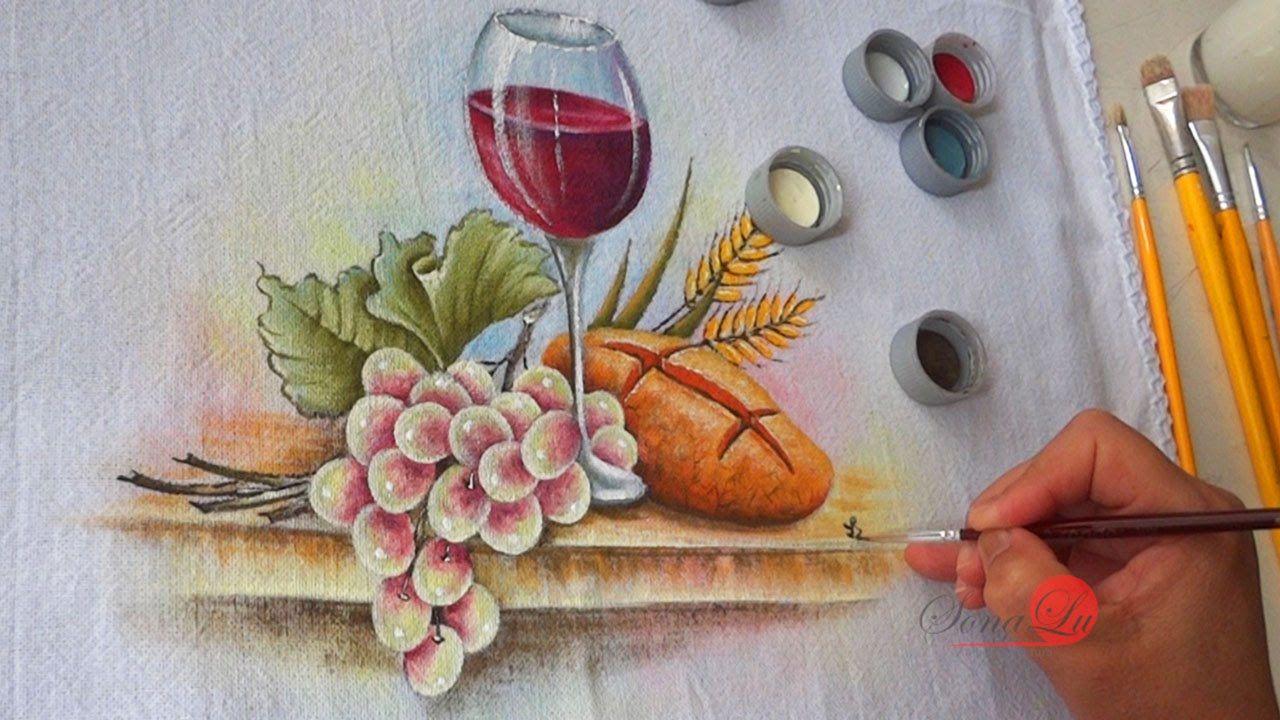 Taca De Vinho Pao E Uvas Em Tecido Aula 51 Riscos Para