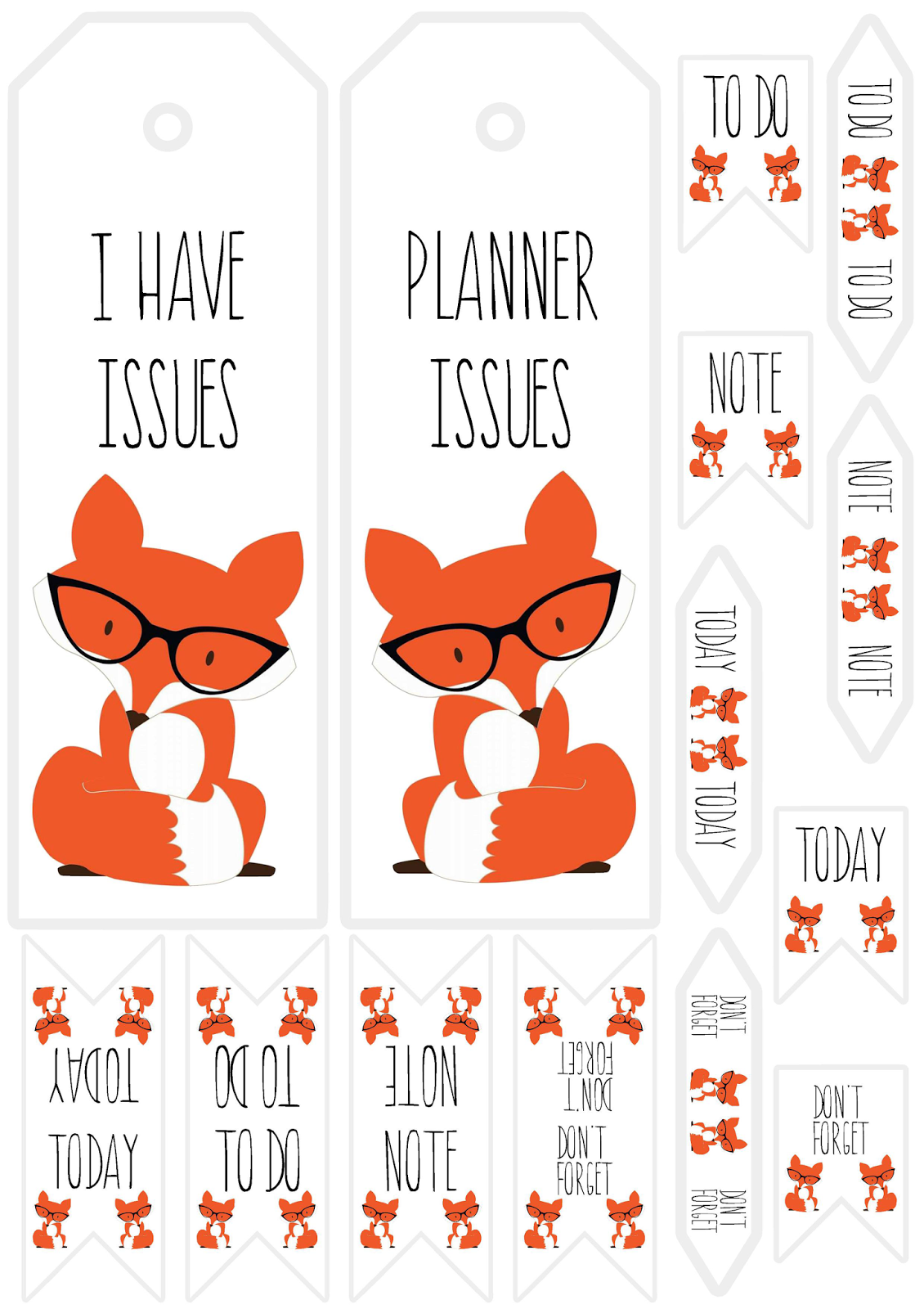 printable fox bookmarks free printable fox planner bookmarks and tabs 2765