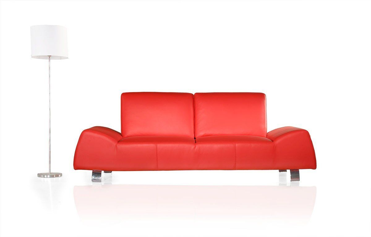 Amazon Com 120 Modern Red Leather Sofa And Love Seat Living