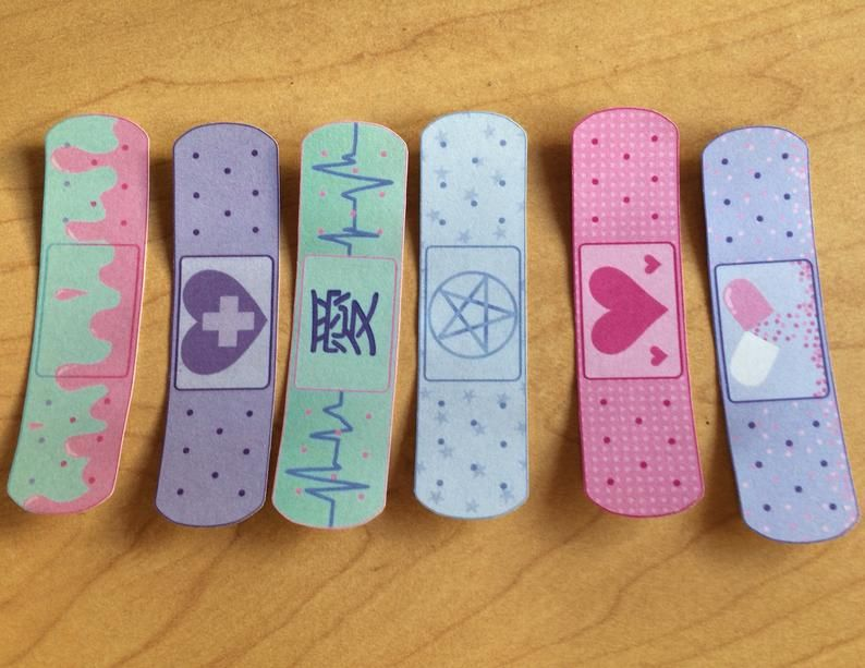 12 Pack Funky Pastels Menhera Bandage Stickers In 2021 Bandage Sticker Bandaid Sticker Kawaii Goth