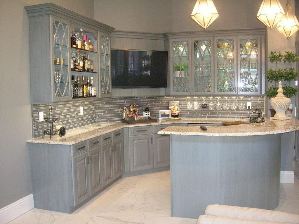 Light grey distressed kitchen cabinets