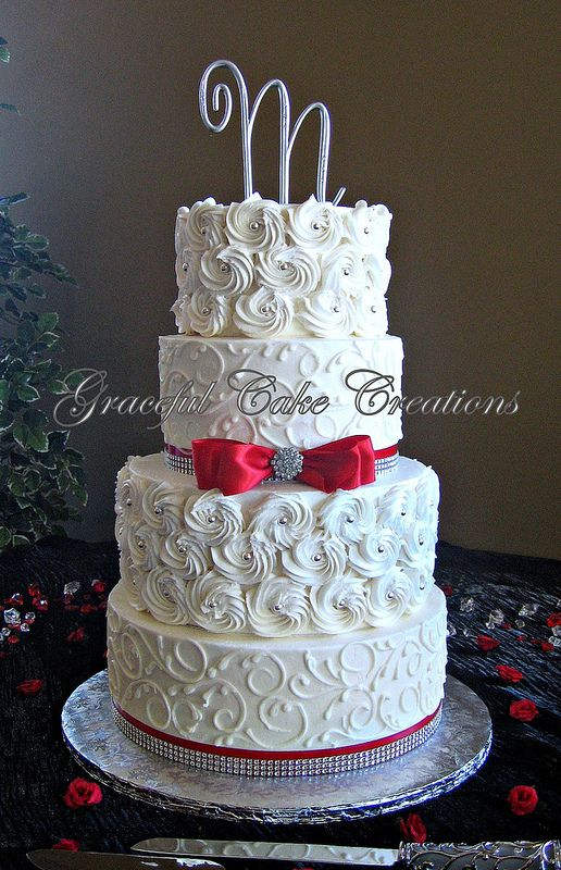 Elegant White Wedding Cake with Butter Cream Rosettes and Bling