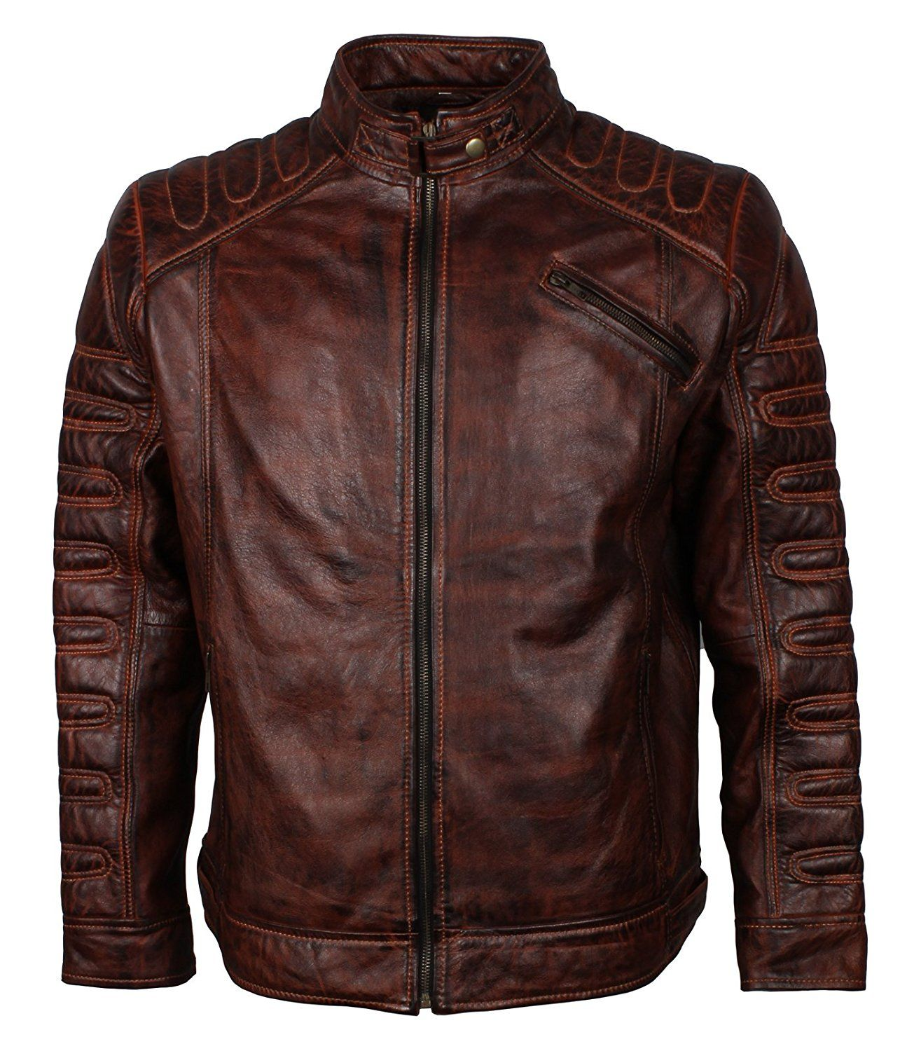 Mens Real Genuine Leather Jacket Bomber Classic Quilted Soft Premium Cafe Racer