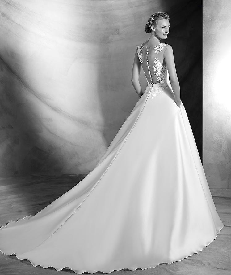 verila, encaje vestido de mikado, encaje, para la novia clásica