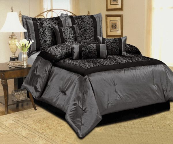 Details about NEW LEOPARD SILVER GRAY BLACK COMFORTER SET SATIN ...