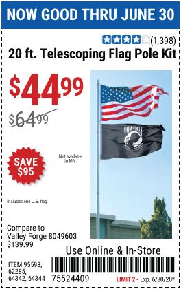 One Stop Gardens 20 Ft Telescoping Flag Pole Kit For 44 99 In 2020 Flag Pole Kits Flag Pole Garden Flag Pole
