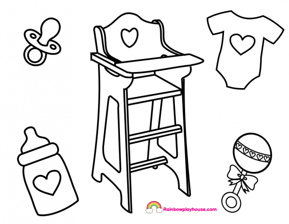 baby accessories coloring pages archives rainbow playhouse coloring pages for kids