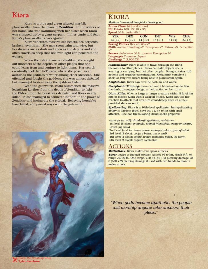 Planeswalker NPCs for D&D: Updated | D&D in 2019 | Dungeons, dragons