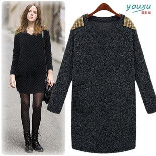 New-Casual-Pullover-Sweaters-Dresses-Knitwears-Loose-Women-Long ...