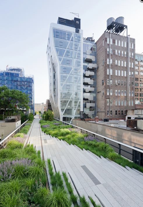 High Line Park: a park built on a historic freight rail line elevated above the streets