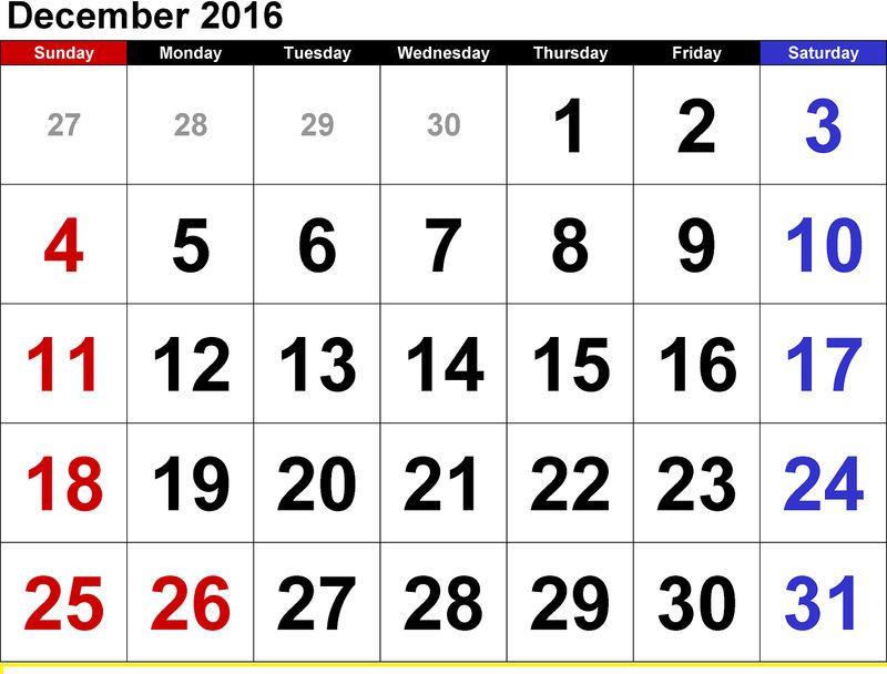 Kids December 2016 Calendar Free 2020