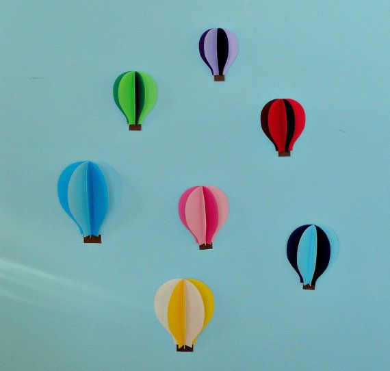 Hot Air Balloon 3d Paper Wall Art Wall Decor By Goshandgolly