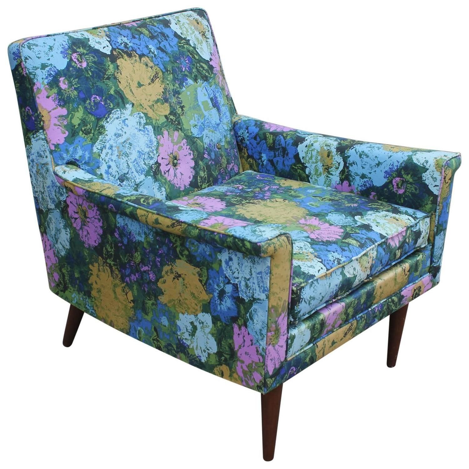 50 Cool And Creative Shabby Chic Dining Rooms: Fabulous Floral Mid-Century Modern Lounge Chair