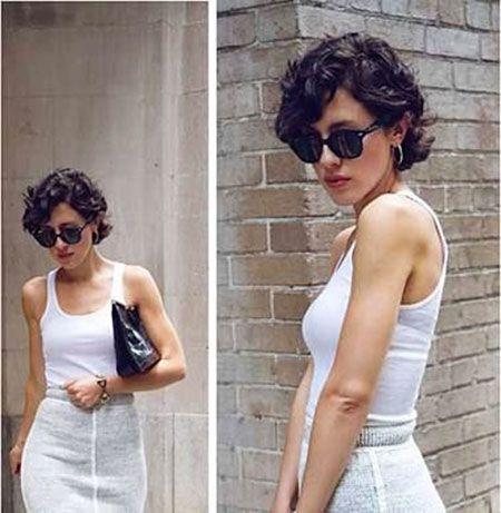 Curly hair short or long dress
