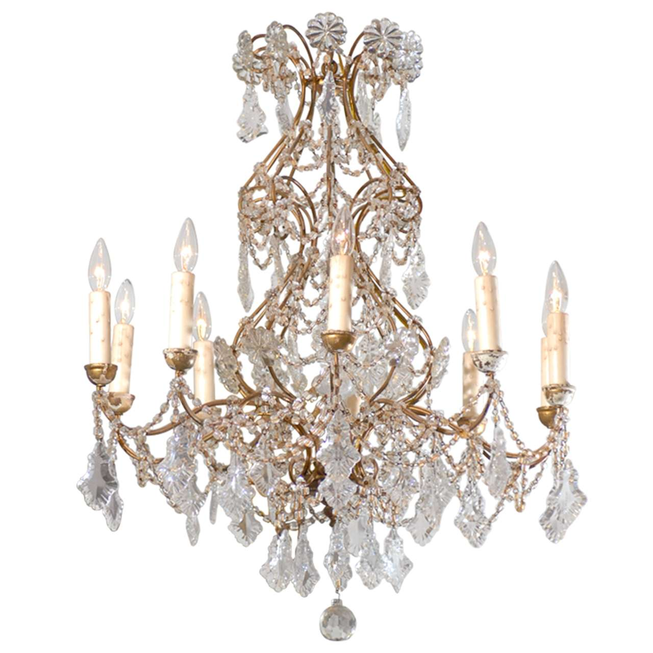 Italian 1850s Rococo Style Ten Light Crystal Chandelier With