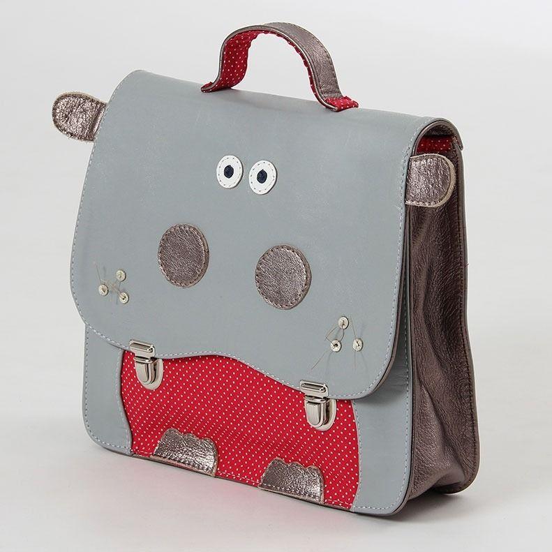 Cartable enfant maternelle en cuir pam l 39 hippopotam sacs enfants par les gros mots boys - Image cartable maternelle ...