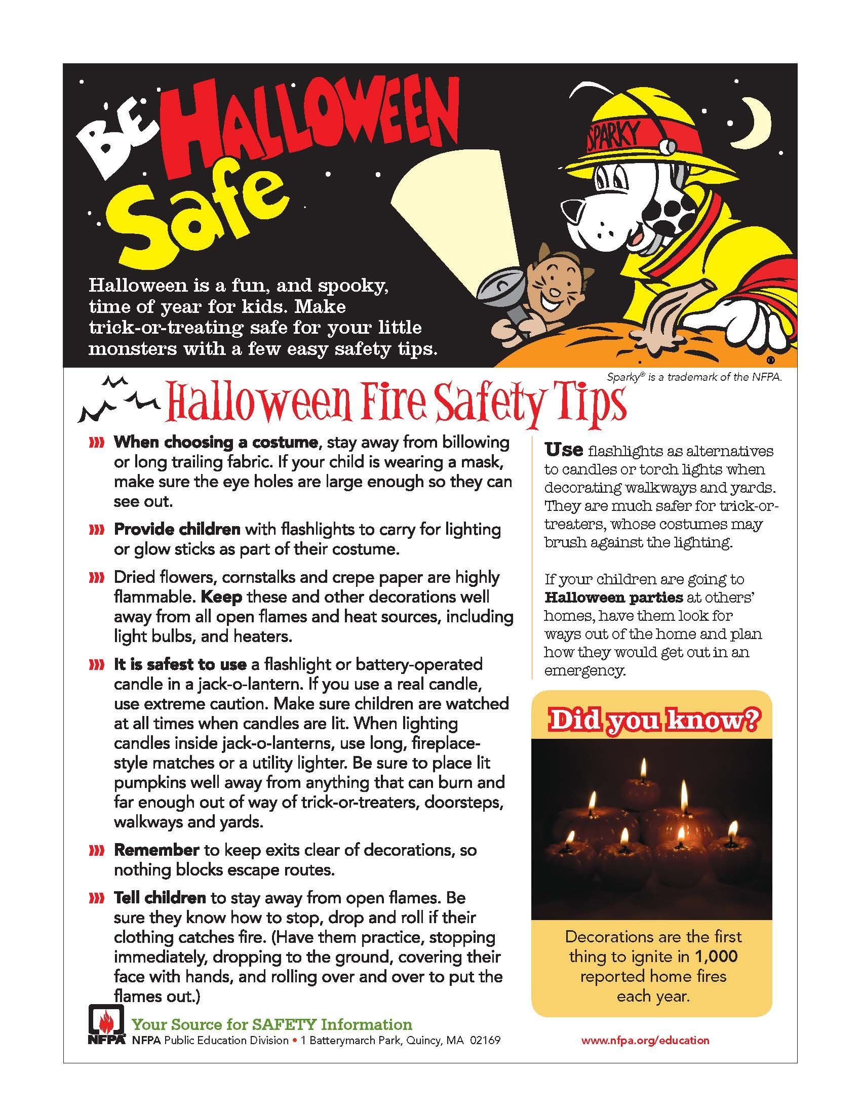 Halloween safety tips from the National Fire Protection