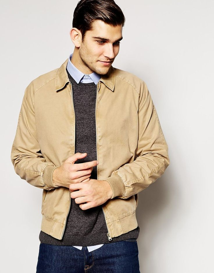 Men's Tan Bomber Jacket, Dark Brown Crew-neck Sweater, Light Blue ...