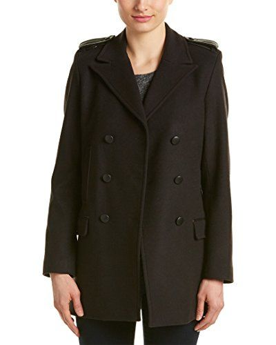 e984a77928b The Kooples Womens Double-Breasted Leather-Trim Wool | Women's ...
