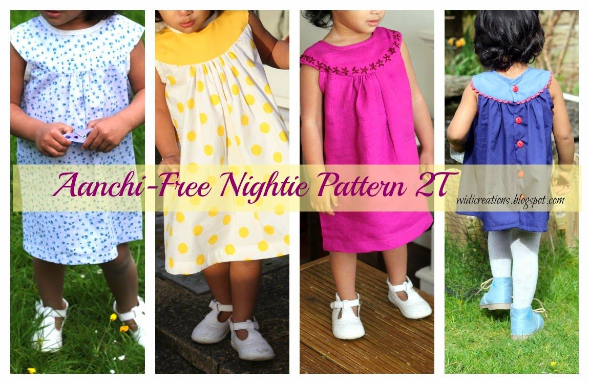 Sew nightie children tutorial download epattern free | Schnittmuster ...