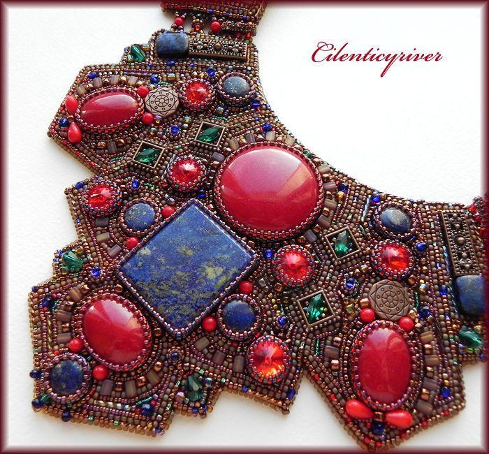 """Купить Колье """"Византия"""" - коричневый, красный, синий, зеленый, медный, радужный, колье ручной работы"""