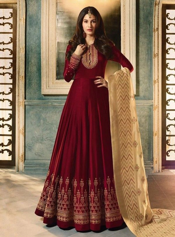 3358944637 Maroon And Cream Motif Embroidered Ghera Anarkali Suit in 2019 ...