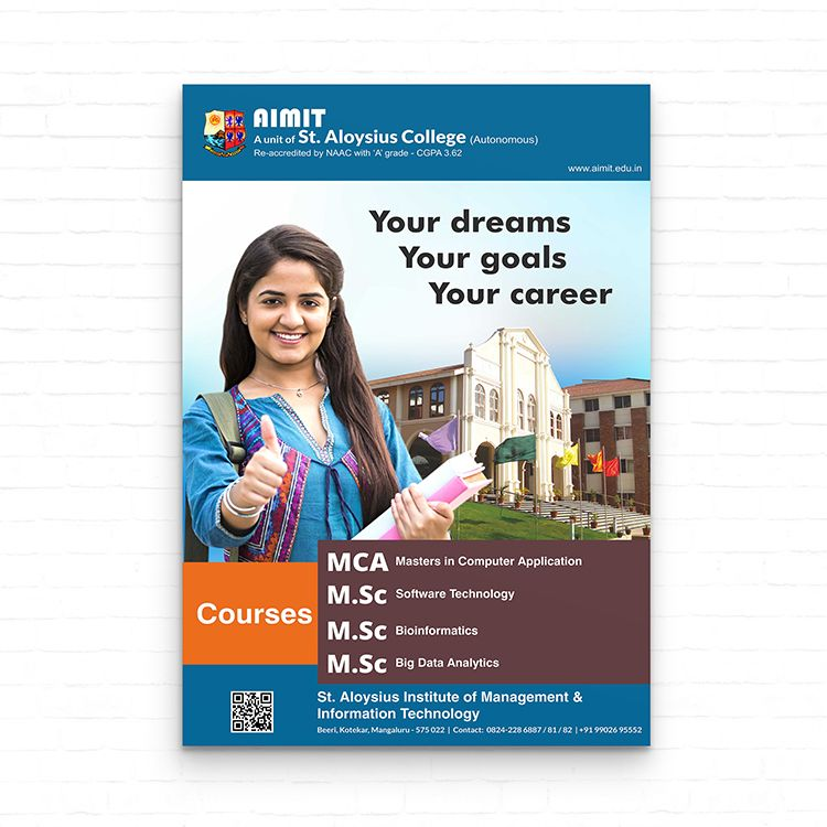 Poster Design For St Aloysius Institute Of Management And Information Technology Mangalore Ideated Concep Print Advertising Business Advertising Brochure