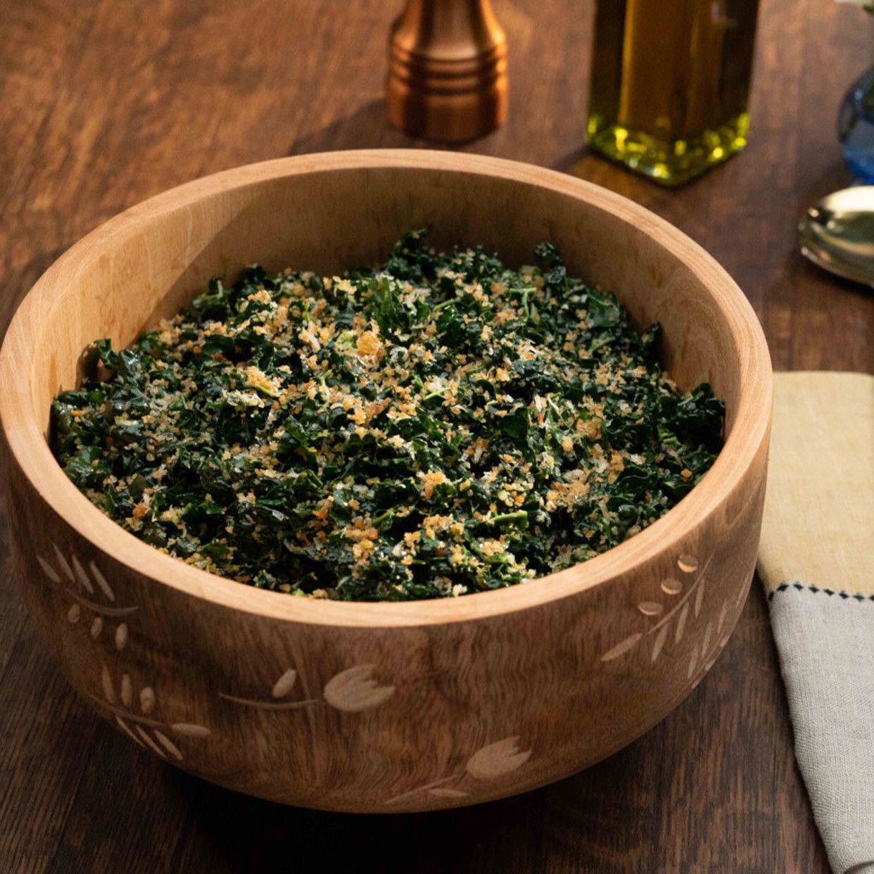 Kale Caesar With Garlicky Panko Crunch By Valerie Bertinelli In 2020 Kale Valerie S Home Cooking Recipes Crunch Recipe