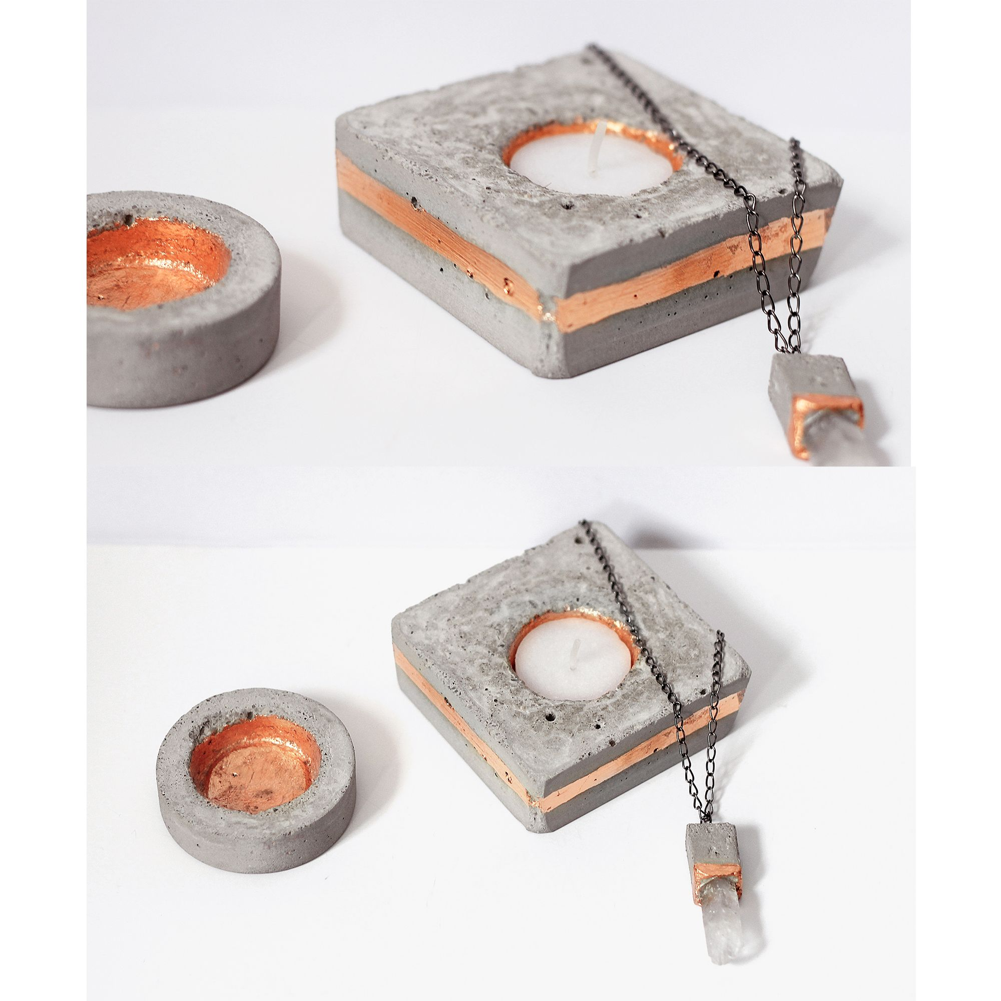 DIY concrete cement cooper candle socket - stone jewelry design