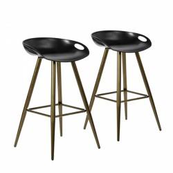 Lot De 2 Tabourets De Bar Noir Avec Pieds En Metal Couleur Bronze Tabouret De Bar Tabourets De Bar Modernes Tabouret Industriel