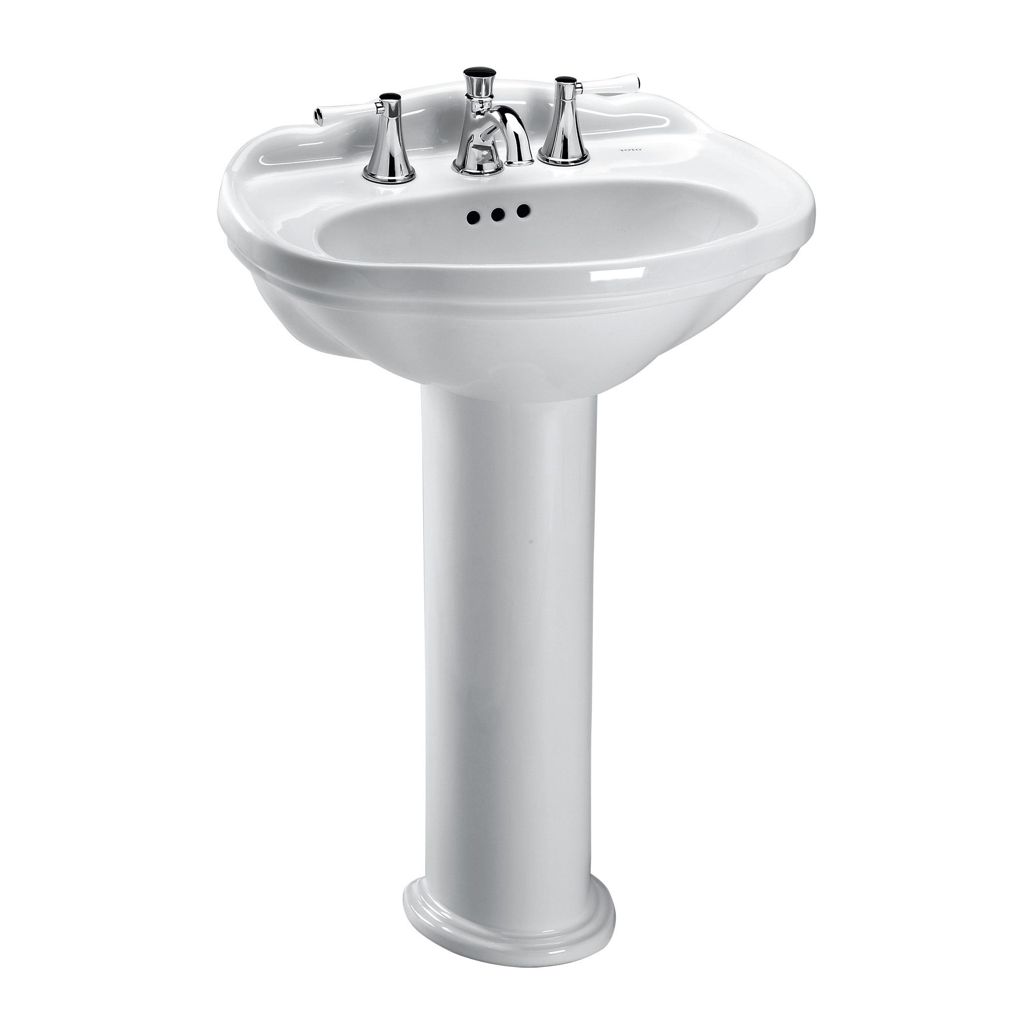 Toto Whitney Oval Pedestal Bathroom Sink For 8 Inch Center Faucets