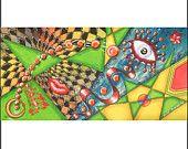 "Abstract Big Painting on Canvas Art Office Decor 20x40 KSAVERA ""OKO 21"" Original Huge eye lips Acrylic Sestras Gulcin Handmade Modern vertical wall art"