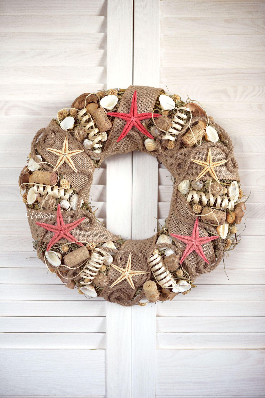 Sea Wreath Starfish Burlap, Seashells Natural Wreath, Red Starfish Decoration