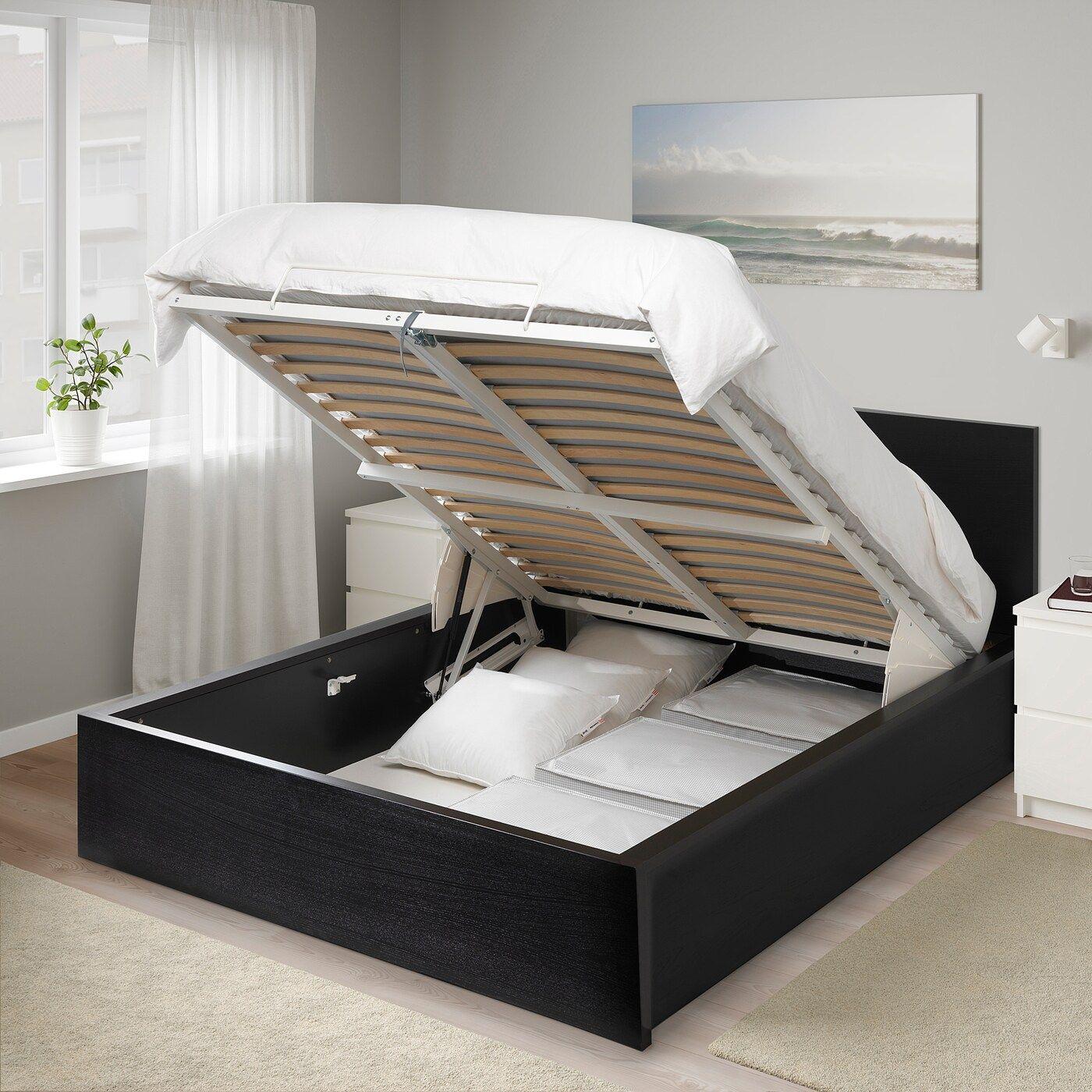 Malm Bettgestell Mit Aufbewahrung Schwarzbraun Ikea Osterreich In 2020 Bettwasche Schwarz Bett Lagerung Und Ideen Fur Kleine Schlafzimmer